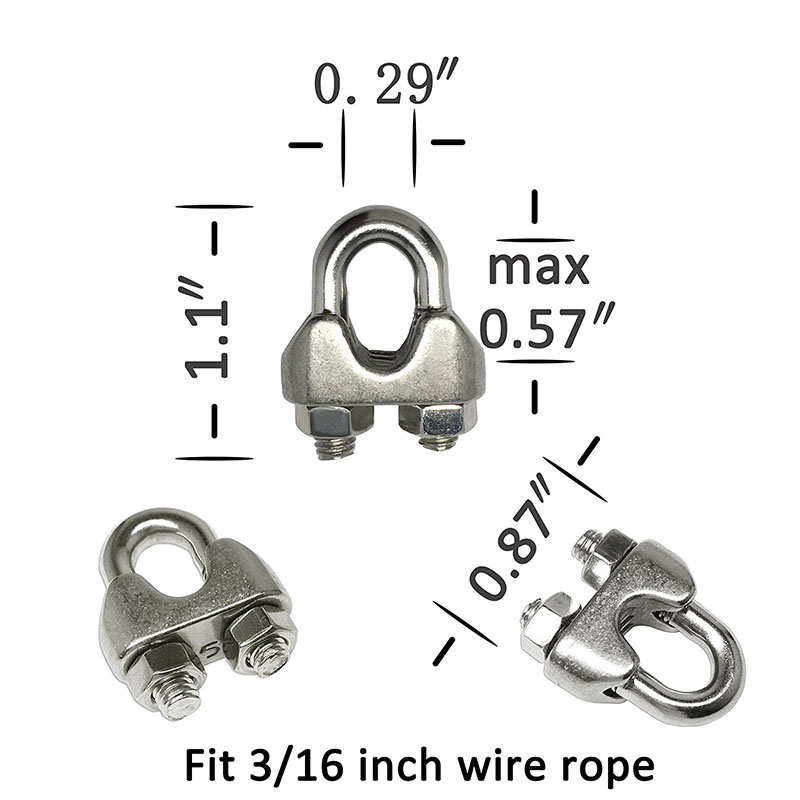 12 pcs 3/16-inch Stainless Steel Wire Rope Cable Clamps(M5) with 6 ...
