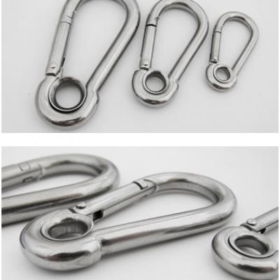 High Quality Stainless Steel Screw Lock Snap Hooks With Eyelet Spring Hook Carabiner