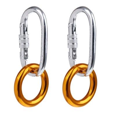1 Pair 25KN O Shaped Screw Locking Climbing Carabiner + 1 Pair 22KN Rigging Rappel Ring Bail