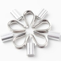 High Quaity 100 pcs 1/8-inch Wire Rope Aluminum Sleeves Clip Fittings Cable Crimps + 10 pcs M3 Stainless Steel Thimble Combo