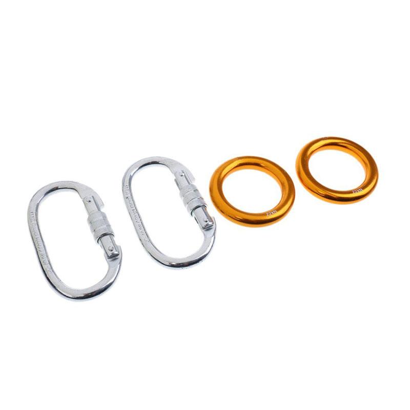 O Shaped Screw Locking Climbing Carabiner + Rigging Rappel Ring Bail 2