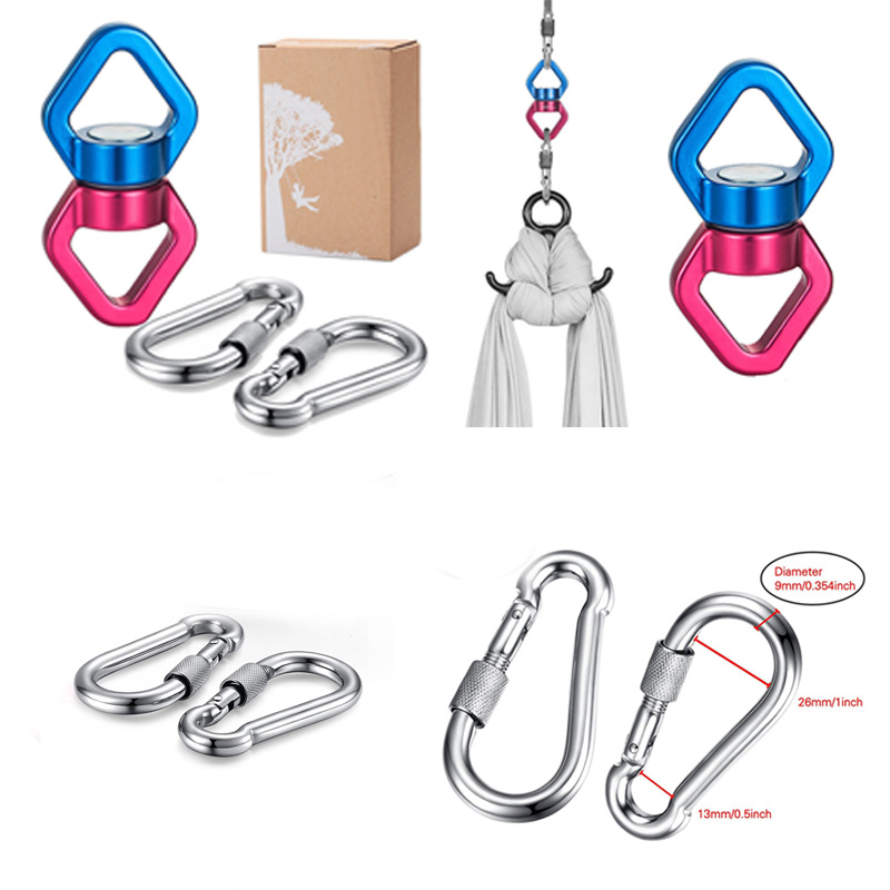 Safest Swing Swivel (30KN) with 2 Carabiners